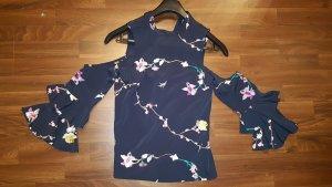 ASOS tolles Off-Shoulder Schulterfreie Bluse Pullover bestickt Trompetenärmel Rüschen