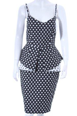 Asos Trägerkleid schwarz-weiß Herzmuster Eleganz-Look