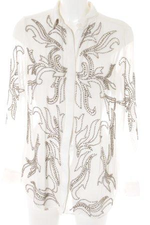 Asos Transparenz-Bluse wollweiß-silberfarben Casual-Look
