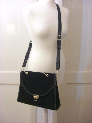 asos – Vintage-Satchel-Tasche aus Wildleder - Echtleder 80ies, schwarz, gold Blogger Handtasche