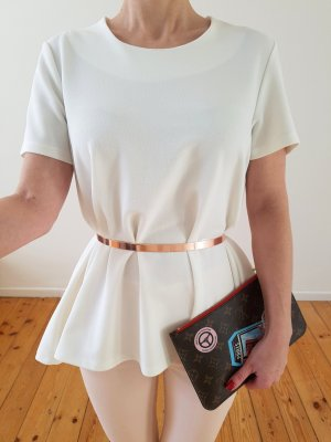 Asos Vokuhila Bluse XS S M 34 36 weiß Volant Peplum Shirt Longshirt Top Oberteil Kleid Tunika Neu