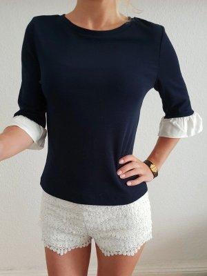 Asos Volant Bluse XS S 32 34 36 blau Rüschen Volantärmel Oberteil Bluse Tunika Shirt Top Neu