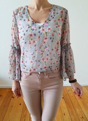 Asos Volant Bluse XS S 32 34 36 grau rosa Blumen Rüschen Peplum Shirt Top Oberteil Kleid Tunika Neu