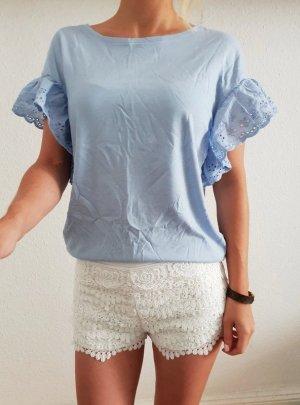 Asos Volant Shirt XS S 32 34 36 blau Rüschen Volantärmel Oberteil Bluse Tunika Top Neu