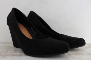 ASOS Wedges Highheels Pumps Schuhe schwarz Wildlederimitat Gr 38