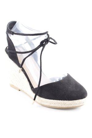 Asos Wedges Sandaletten schwarz-hellbeige Boho-Look