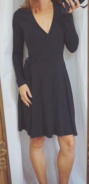 ASOS Wickelkleid Baumwolle Stretch schwarz sexy Ausschnitt Herbst XS 32/34 NEU