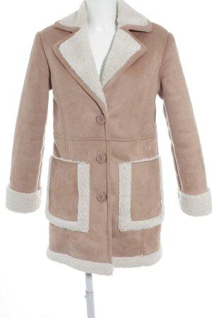 Asos Winterjas stoffig roze-wit klassieke stijl