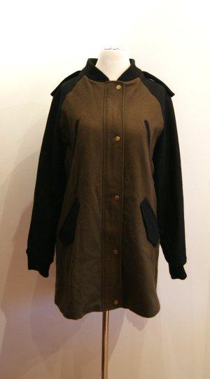 ASOS Woll-Mix-Mantel, kurzer Mantel, lange Jacke, khaki/schwarz, Gr. 42 NEU