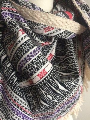 Asos Sjaal met franjes wit-zwart