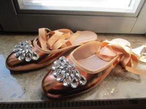 Asoso Lady Ballerinas Schmucksteine Kupfergold 39 Neu