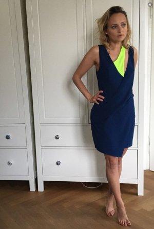 Asospetite 34 - Raffiniertes Kleid XS dunkelblau mit neongelbem Detail