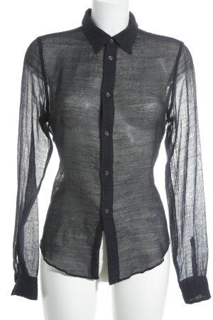 Aspesi Hemd-Bluse dunkelblau Transparenz-Optik