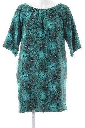 Aspesi Off-The-Shoulder Dress turquoise-black flower pattern casual look