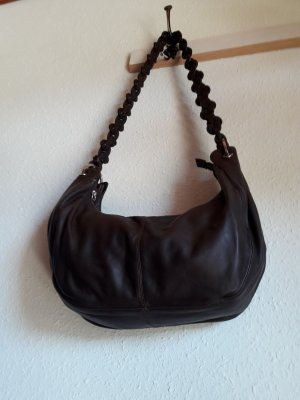 Assima Pouch Bag dark brown-taupe leather