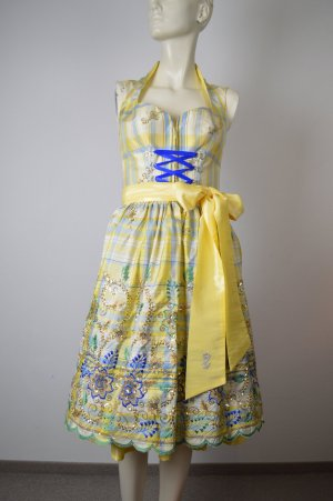 Astrid Söll Vestido corsage amarillo pálido-azul Algodón