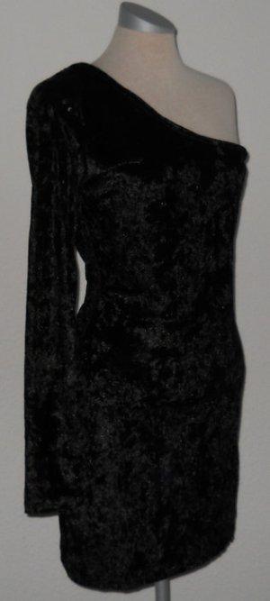 asymetrisch oneshoulder Samtkleid Minikleid Pailletten Schulter 40 M L Neu