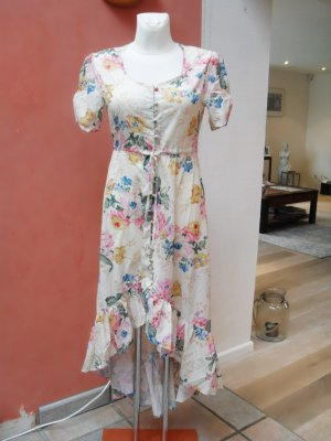 Asymetrisches, langes Kleid, beige mit floralem Muster