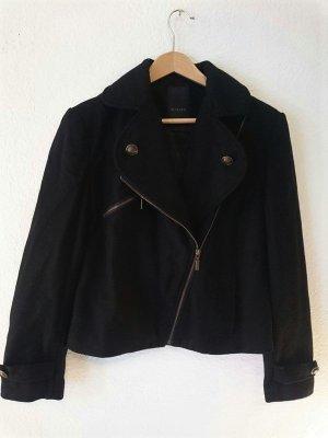 Asymmetrisch geschnittene Designer Kurzjacke von Malvin in schwarz mit goldenen Details