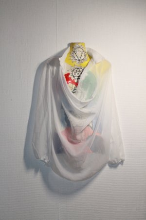 Asymmetrische weiße Bluse / Hemd / Tunika mit Wasserfallausschnitt