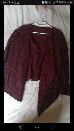 Asymmetrischer Cardigan Rot-Schwarz