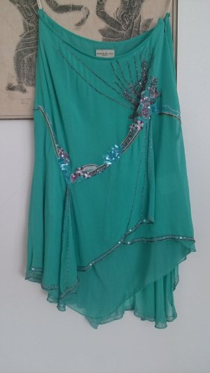 KAREN MILLEN Silk Skirt turquoise silk