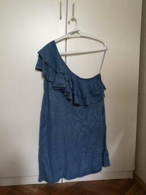 Zara Woman Vestido de un hombro azul neón