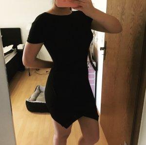 Asymmetrisches Kleid Reißverschluss Schwarz Blogger Style Bodycon Gr. S/36