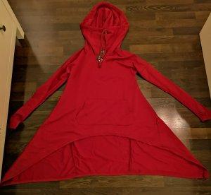 asymmetrisches Longshirt in rot mit Kapuze