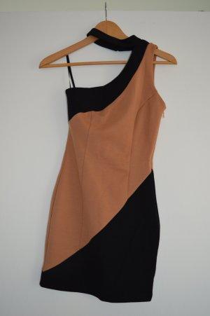 Asymmetrisches Minikleid beige-schwarz in Gr. 34 Asos