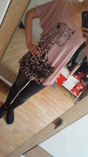 Miss Sixty Camisa de un solo hombro negro-rosa empolvado