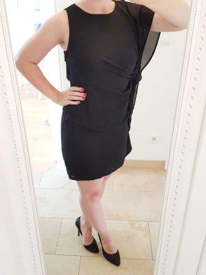 Asymmetrisches schwarzes Kleid Chiffon in Größe 36