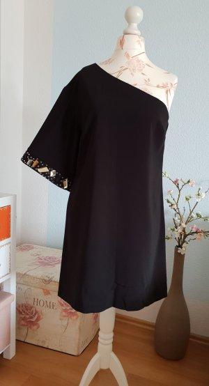 Asos Vestido de un hombro negro-color oro