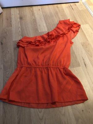 Asymmetrisches Top mit Volant rot orange Gr XS