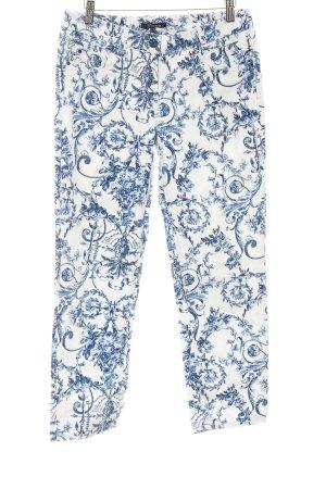 Atelier Gardeur Marlenejeans weiß-stahlblau florales Muster 20ies-Stil