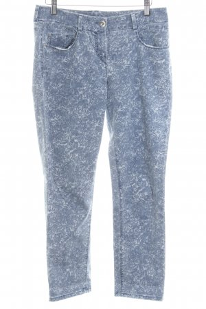 Atelier Gardeur Slim Jeans steel blue-white floral pattern casual look