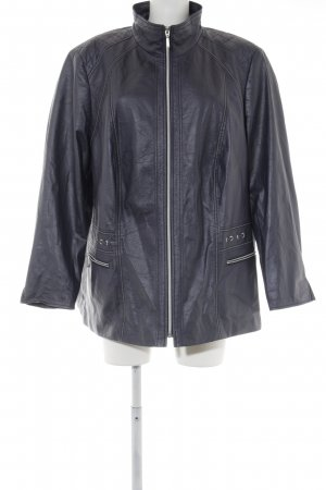Atelier Faux Leather Jacket dark blue simple style