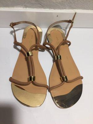 Sandalo con cinturino marrone chiaro-oro Pelle