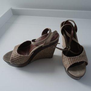 Atelier-schicke Keilabsatz-Sandaletten/Wedges-beige/braun-neuw.-