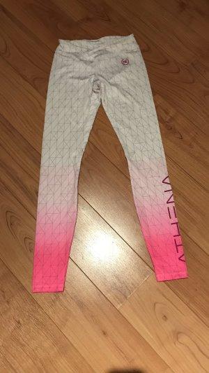 Pantalon de sport blanc-rose fluo
