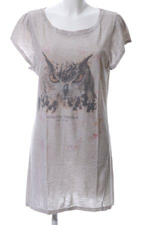 Athletic Vintage Print-Shirt hellgrau-schwarz Casual-Look