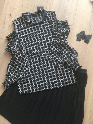Atmosphere Bluse schwarz weiß gemustert neu Hr. S M 36 38 Cut Outs