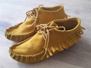 Atmosphere Fransen Schnürschuhe Boots 36 Stiefeletten Indianer gelb zara