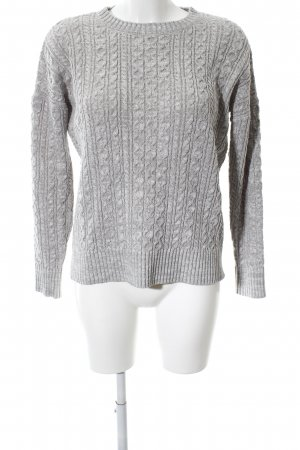 Atmosphere Coarse Knitted Sweater light grey cable stitch casual look