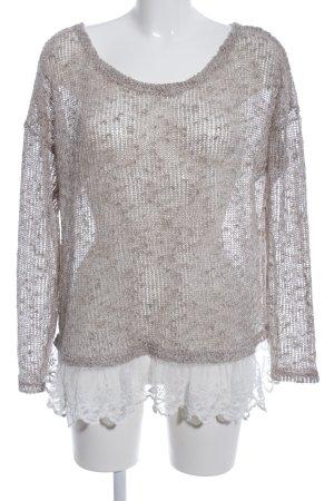Atmosphere Pull en crochet brun-blanc imprimé allover style décontracté