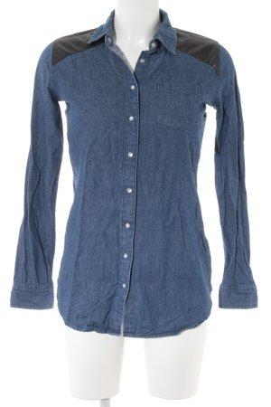 Atmosphere Jeans blouse staalblauw-zwart casual uitstraling