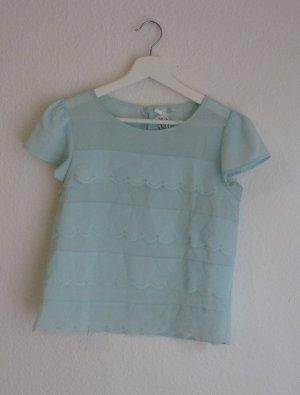 Atmosphere kurzarm Bluse Shirt S 36 babyblau süß romantisch Hippie Indie Fashion Blogger