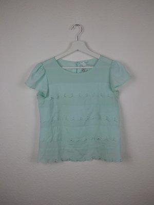 atmosphere kurzarm bluse shirt S 36 babyblau süß romantisch hippie indie