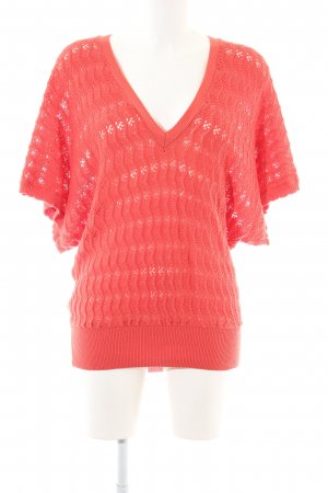 Atmosphere Kurzarmpullover rot Zopfmuster Casual-Look