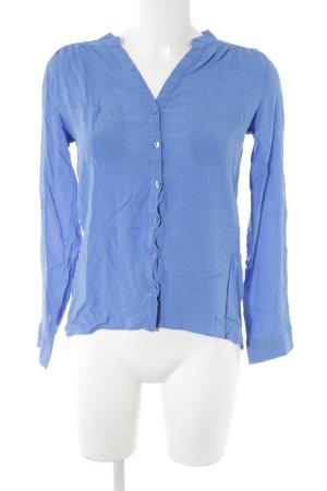 Atmosphere Langarm-Bluse kornblumenblau schlichter Stil